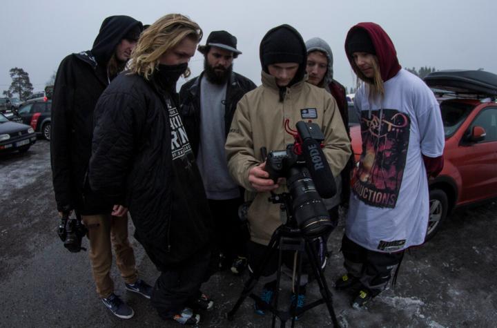 Crew-watching-footage-blog